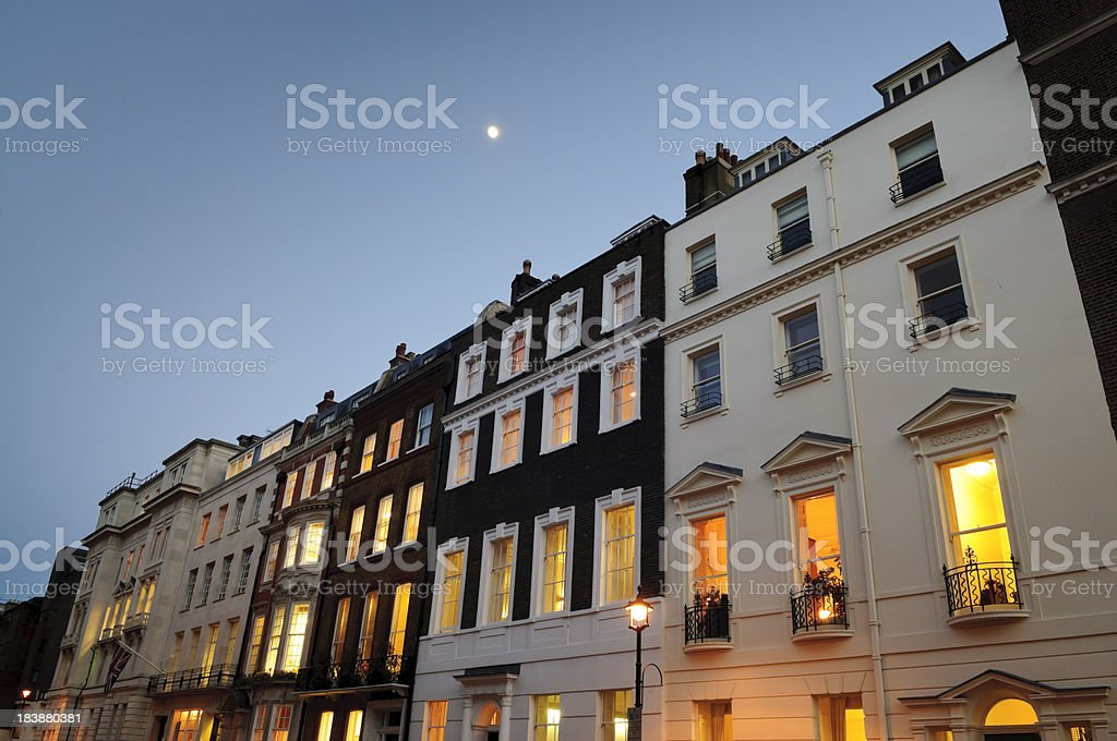 Looking Up Queen Anne Street in London at Twilight stock photo