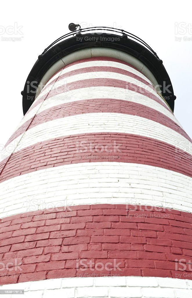 Looking up Quoddy Head Lighthouse stock photo