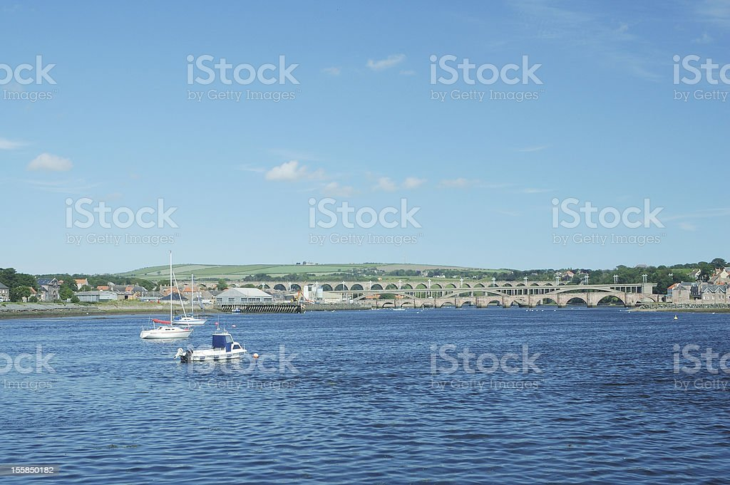 looking up river Tweed at Berwick stock photo