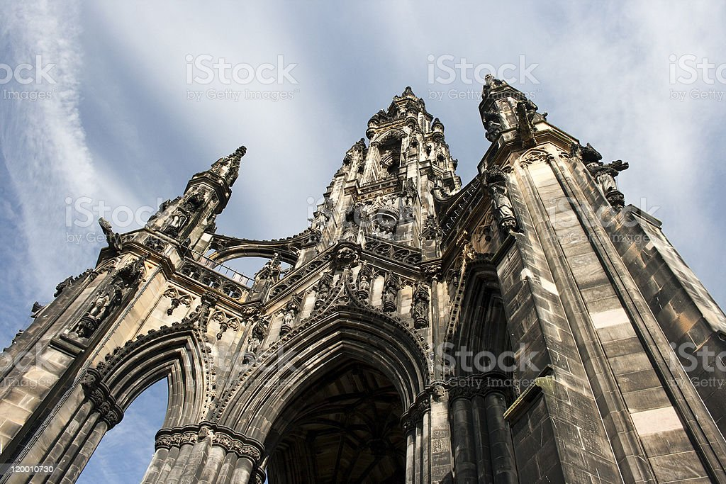 Looking Up Scott's Monument in Edinburgh stock photo