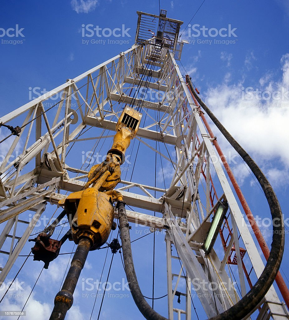 Looking up the Drilling Rig royalty-free stock photo