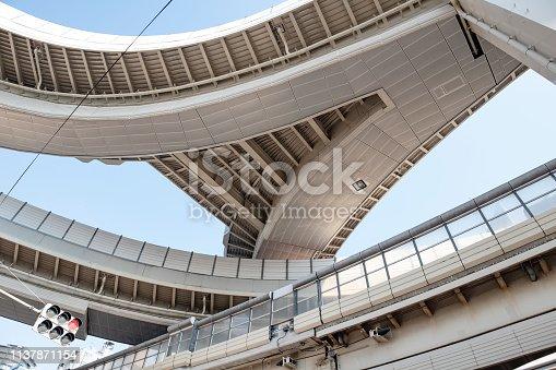 looking up the highway grade separation at Shinjuku, Tokyo, Japan.