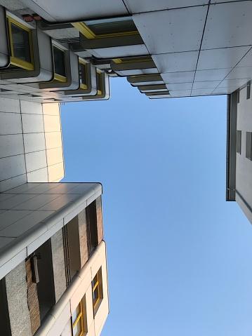 Looking up a 1980s housing development in West Berlin.
