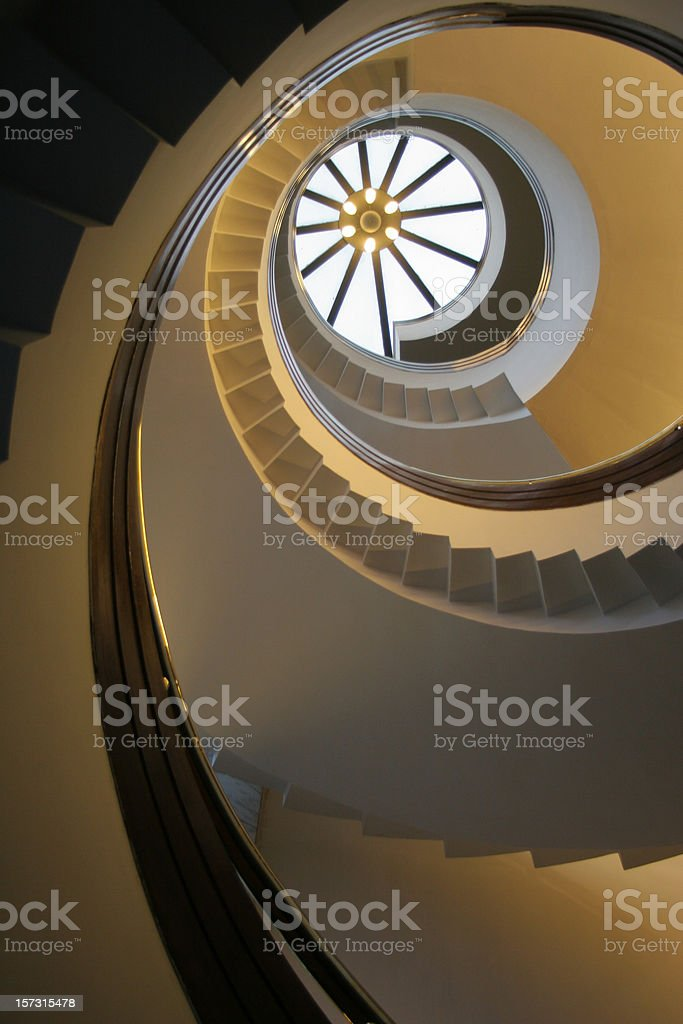 Looking Up The Spiral Staircase royalty-free stock photo