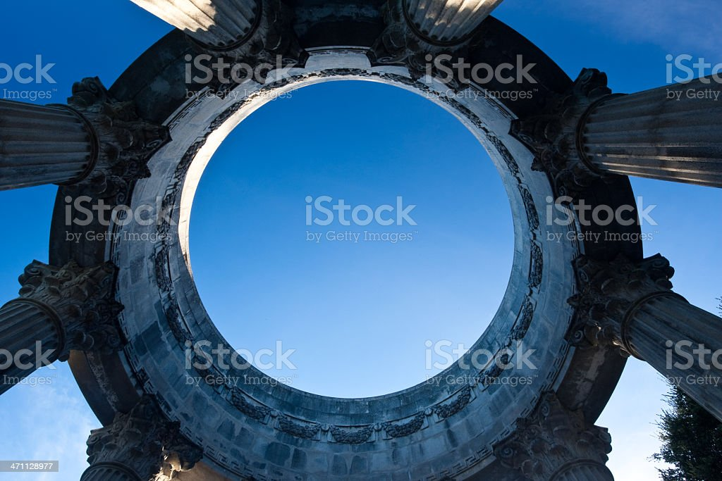 Looking up through a temple royalty-free stock photo
