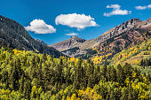 View from the San Juan Mountains skyway, Highway 145 south of Telluride, Colorado.