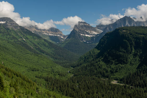 looking up valley to mount oberlin - logan pass stock pictures, royalty-free photos & images