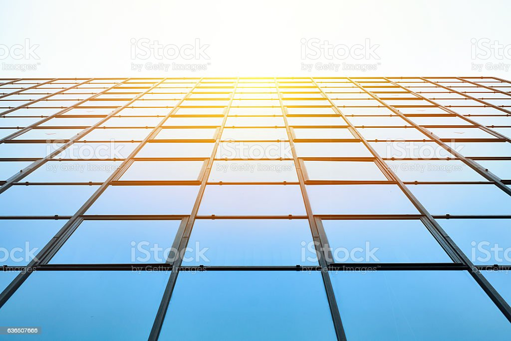 Looking up view of financial building stock photo