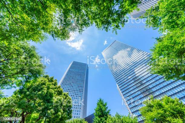 Photo of looking up view of panoramic modern city skyline with blue sky and green tree in shinjuku, tokyo, japan
