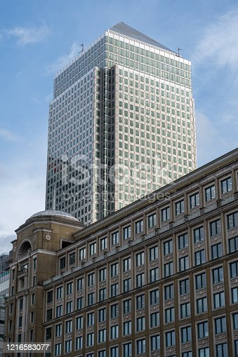 Looking up within Canary Wharf