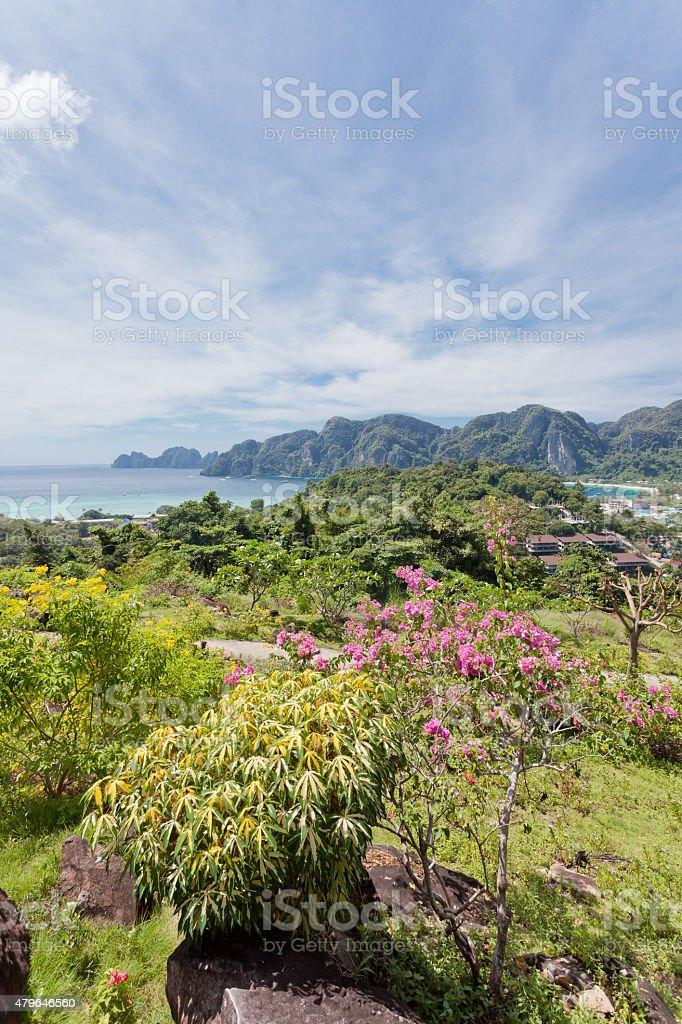 Looking upon Ko Phi Phi Don stock photo