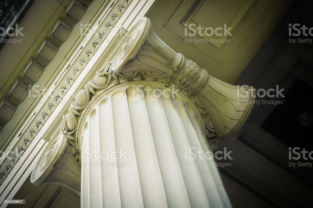 Looking upwards at the top of a column stock photo