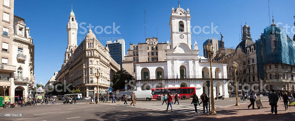 Looking west from Plaza de Mayo, Buenos Aires, Argentina stock photo