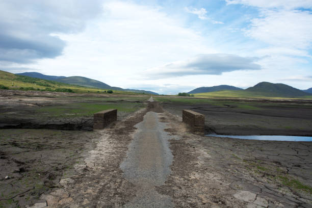 Looking westward at a bridge which is normally submerged under Loch Glascarnoch stock photo
