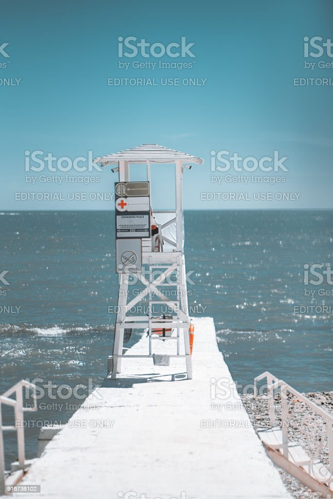 Lookout lifeguard tower on the pier stock photo