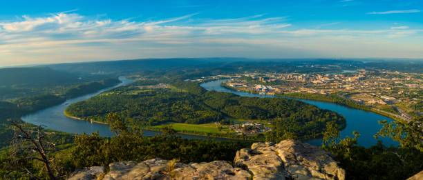 Lookout Mountain panorama Panorama of Chattanooga and the Tennessee River from high up on Lookout Mountain chattanooga stock pictures, royalty-free photos & images