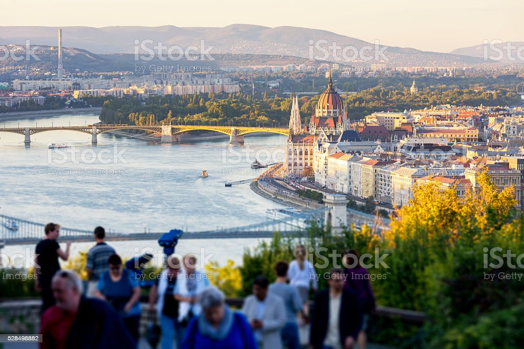 Look-out point at Citadella in Budapest at sunset stock photo