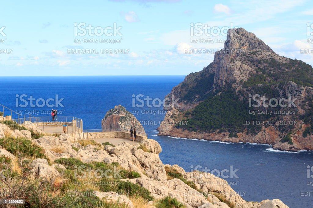 Lookout point Mirador Es Colome, Cap de Formentor cliff, Majorca stock photo