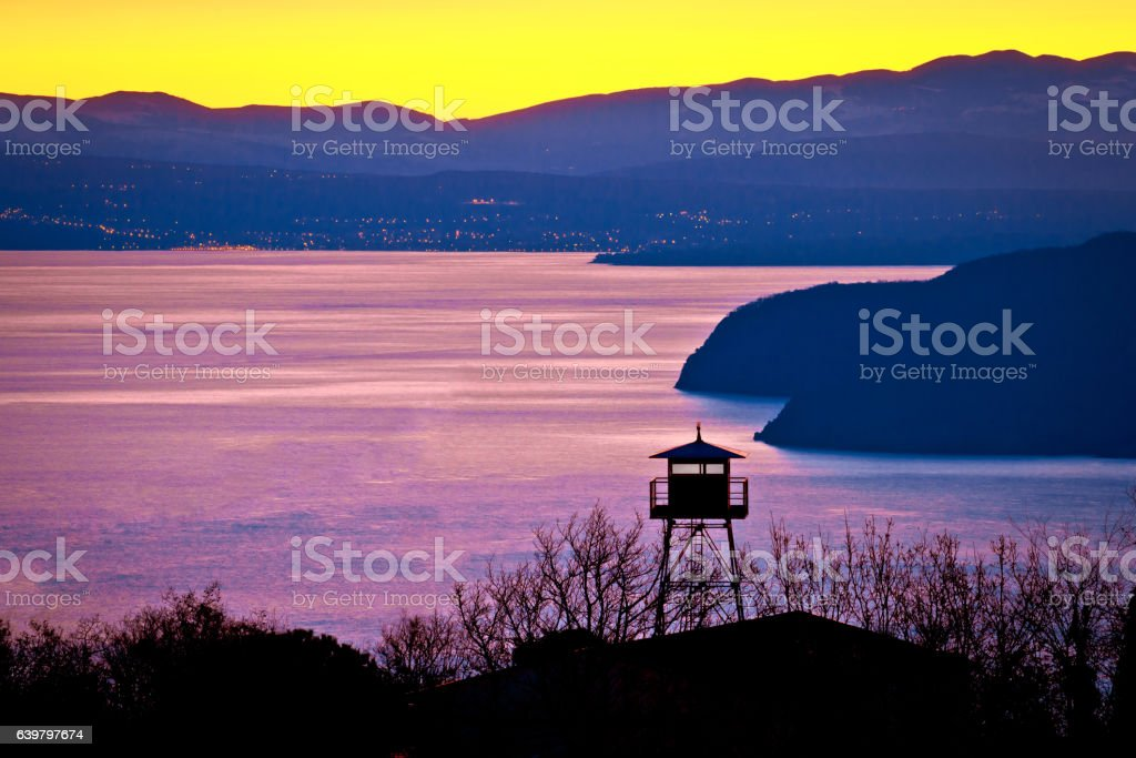 Lookout tower above Kvarner bay stock photo