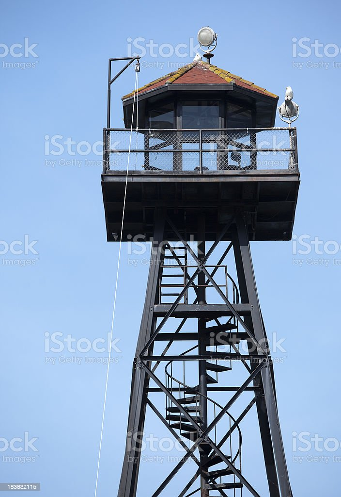 Lookout Tower at Prison on Alcatraz stock photo