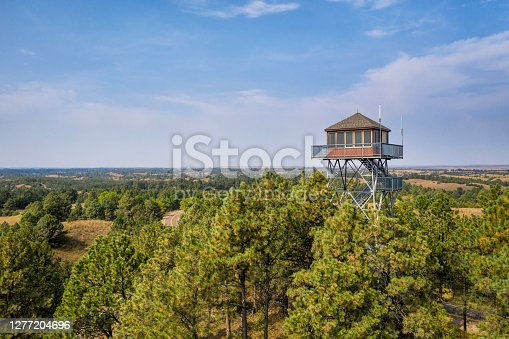 lookout tower in Nebraska National Forest, aerial view of early fall scenery, travel concept