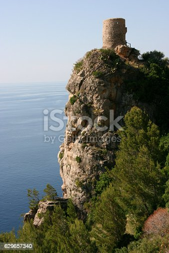 istock Lookout tower Torre De Ses Animes, Mallorca, Spain 629657340