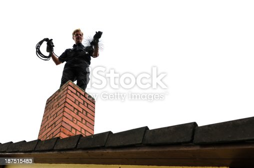 istock Look-up of cleaner cleaning brick chimney 187515483