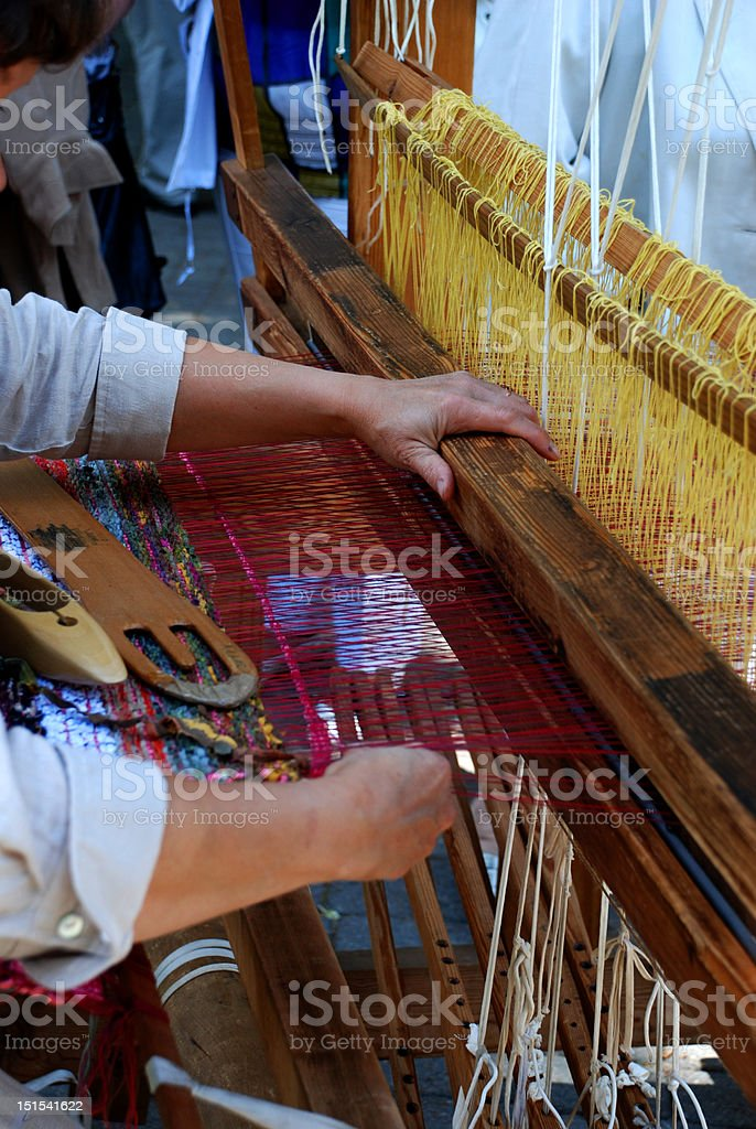 Loom and hands stock photo