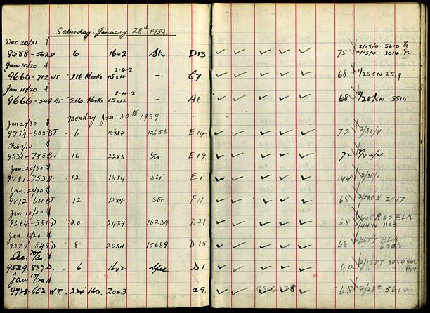 Loom Book sat jan 28th 1939 stock photo