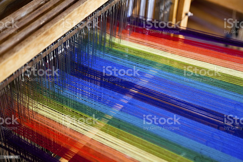 loom weaving stock photo