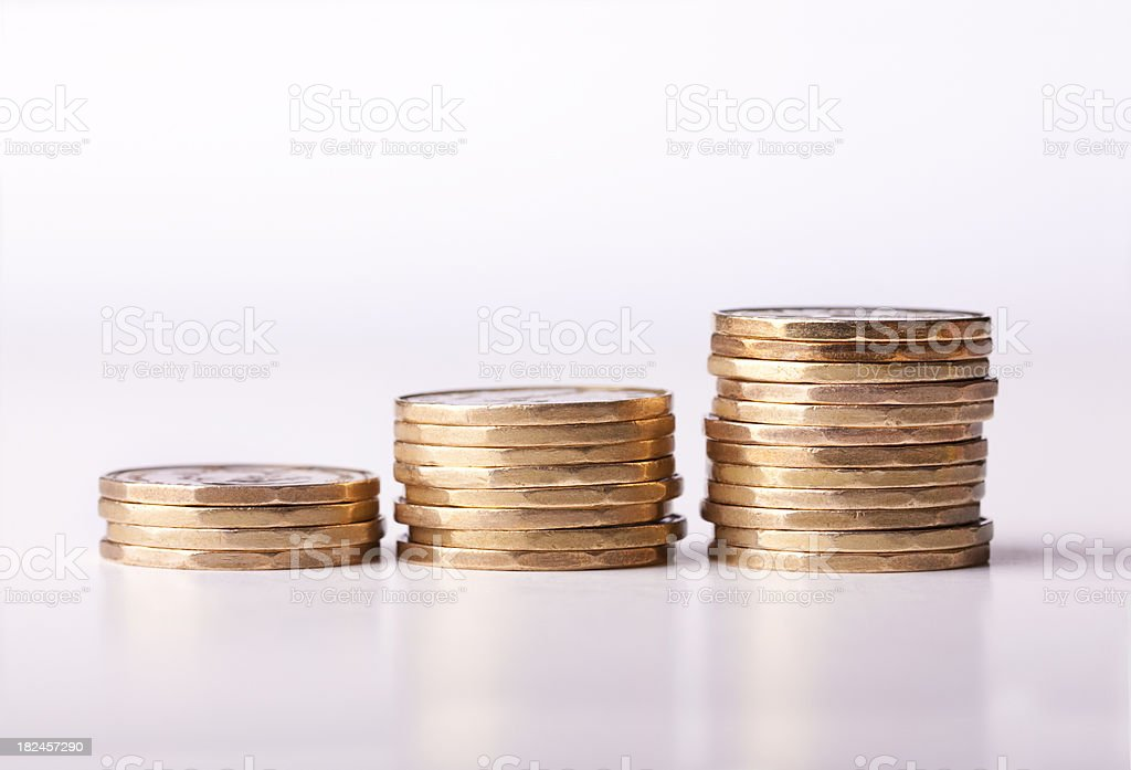 Loonie Inflation with gold coins (Money Series) royalty-free stock photo
