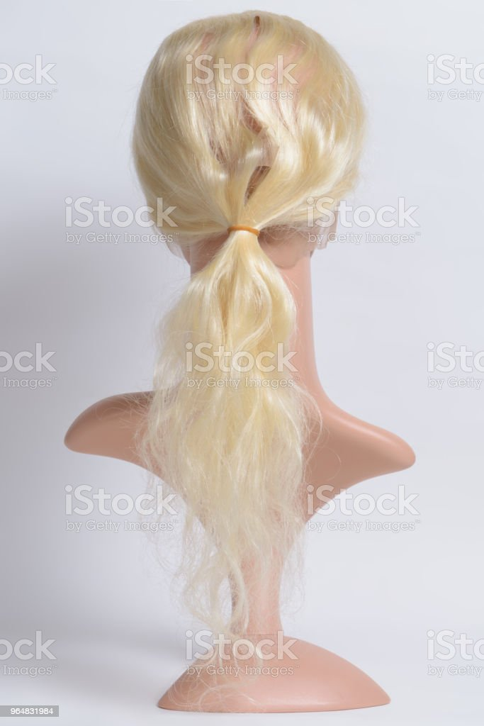 loop circled sewed body wavy bleached blonde human hair weaves lace frontal closure royalty-free stock photo