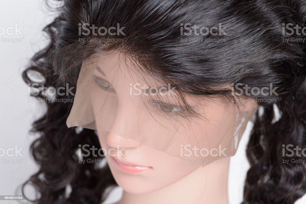loop circled sewed deep curly black human hair weaves lace frontal closure royalty-free stock photo