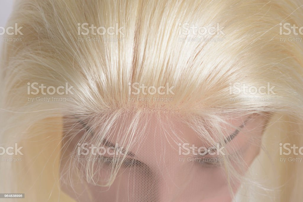 loop circled sewed straight bleached blonde human hair weaves lace frontal closure royalty-free stock photo