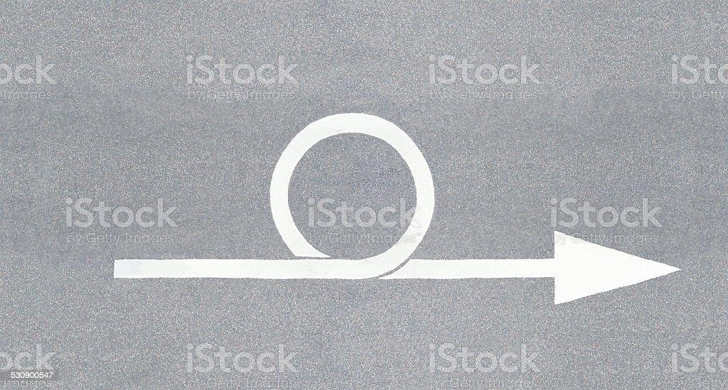 Loop iteration, sprint illustrated as street arrow stock photo