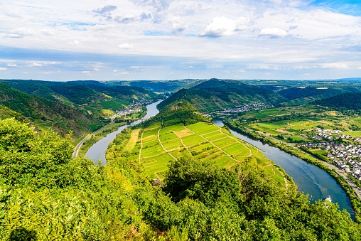 Loop of Bremm from Calmont on the romantic Moselle, Mosel river. Panorama view. Rhineland-Palatinate, Germany.
