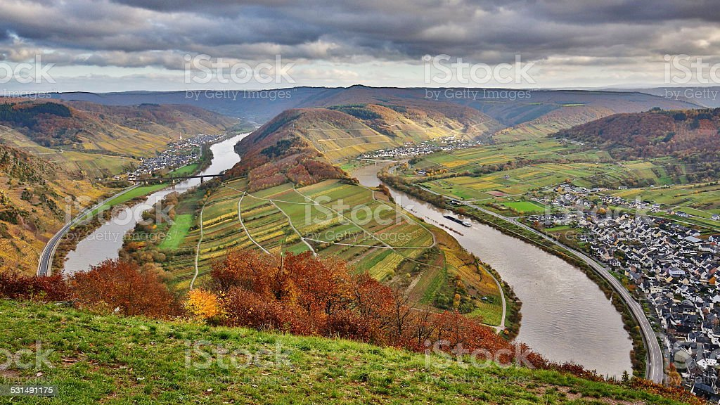 loop of moselle in fall stock photo