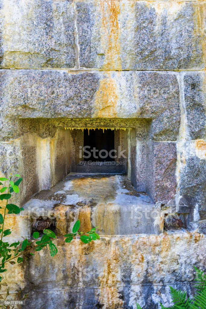 Loophole in a fortress bunker stock photo