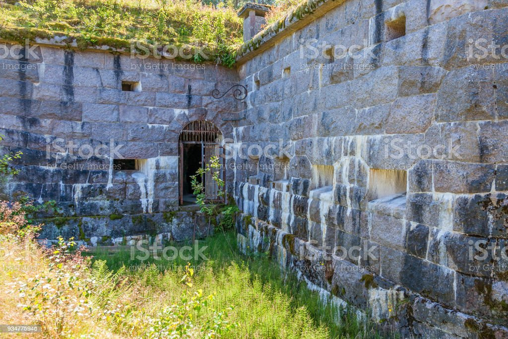 Loopholes in the old ramparts of Vaberget Fortress Karlsborg, Sweden stock photo