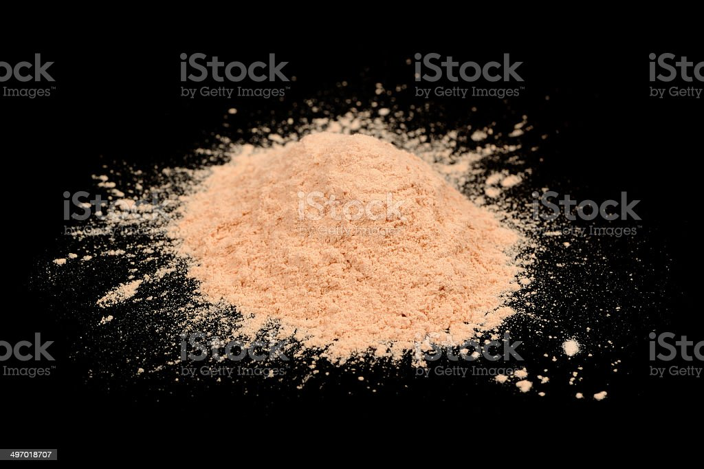 Loose Face Powder on Black Background stock photo