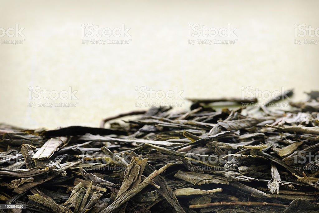 Loose green tea close-up stock photo