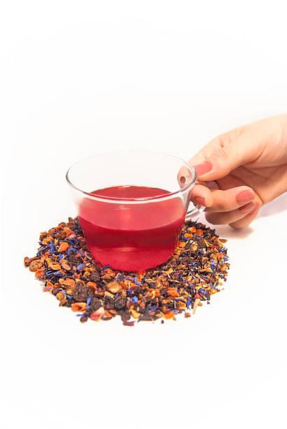 Loose Leaf Tea in Glass Tea Cup stock photo