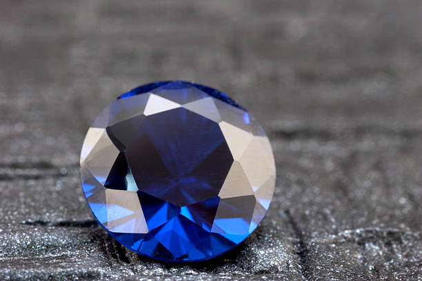 loose round sapphire - sapphire gemstone stock photos and pictures