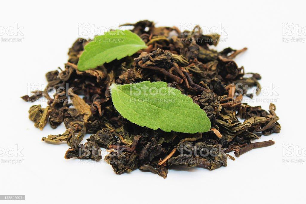 Loose Tea and Stevia Leaves stock photo