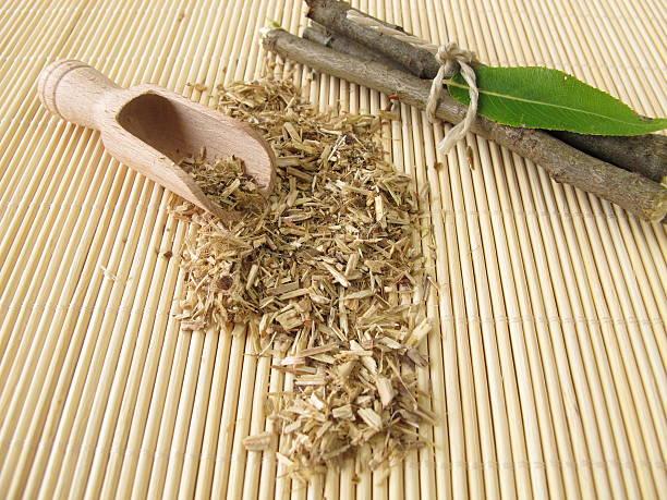 Loose tea from willow bark stock photo