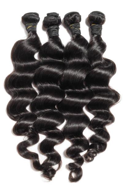 느슨한 물결 모양의 검은 처녀 remy 사람의 모발 직물 확장 - 검정 머리 뉴스 사진 이미지