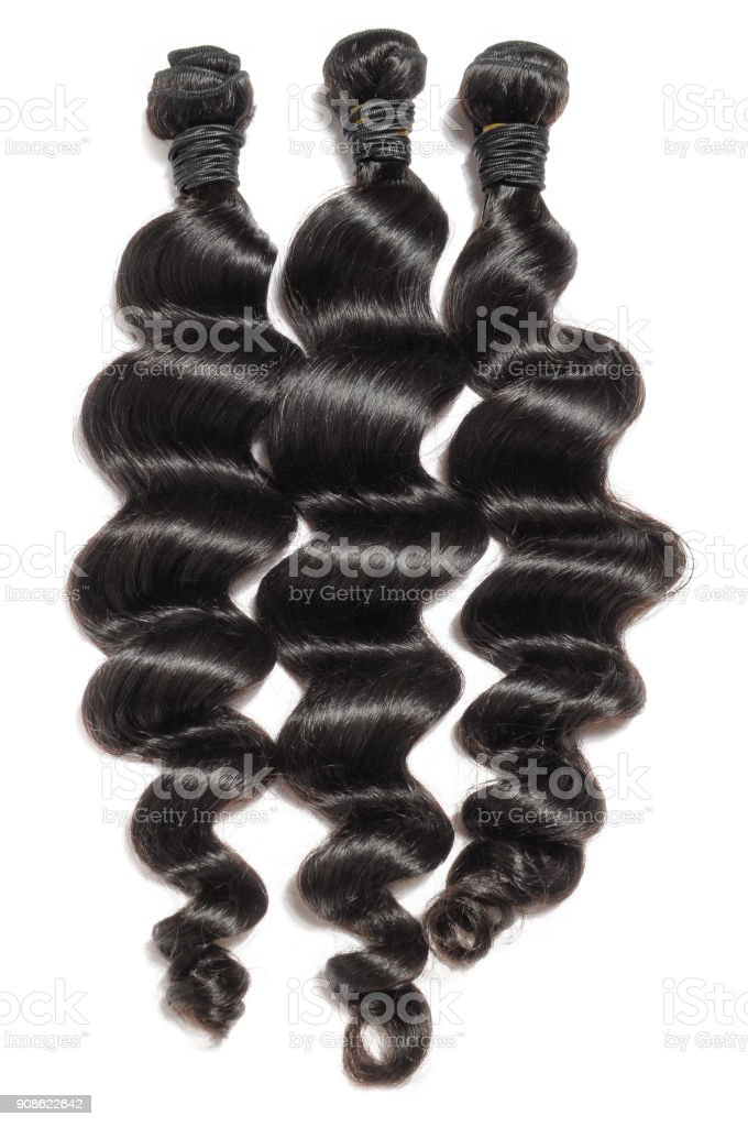 Loose Wavy Black Virgin Remy Human Hair Weave Extensions Stock Photo