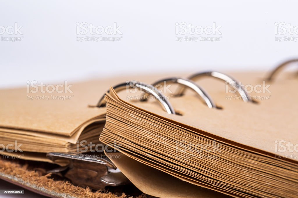 loose-leaf binder and blank pages in a notebook loose-leaf binder and blank pages in a notebook 2015 Stock Photo