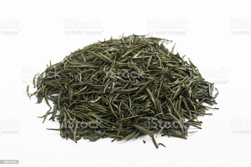 Loose-Leaf Jasmine Green Tea on White Background royalty-free stock photo