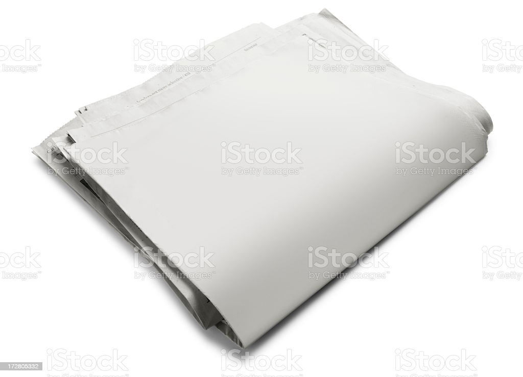Loosely folded blank newspaper on white background royalty-free stock photo